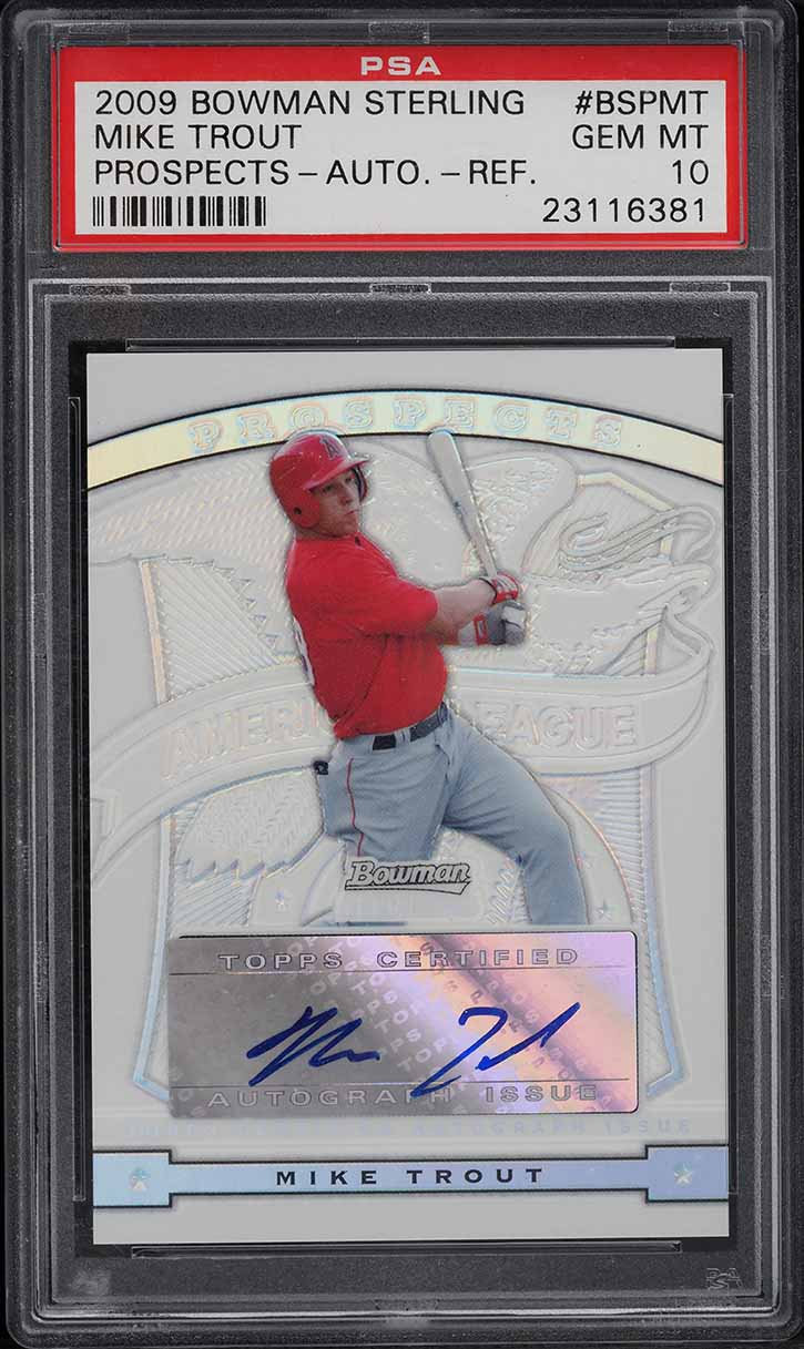 2009 Bowman Sterling Refractor Mike Trout ROOKIE RC AUTO /199 PSA 10 (PWCC) - Image 1