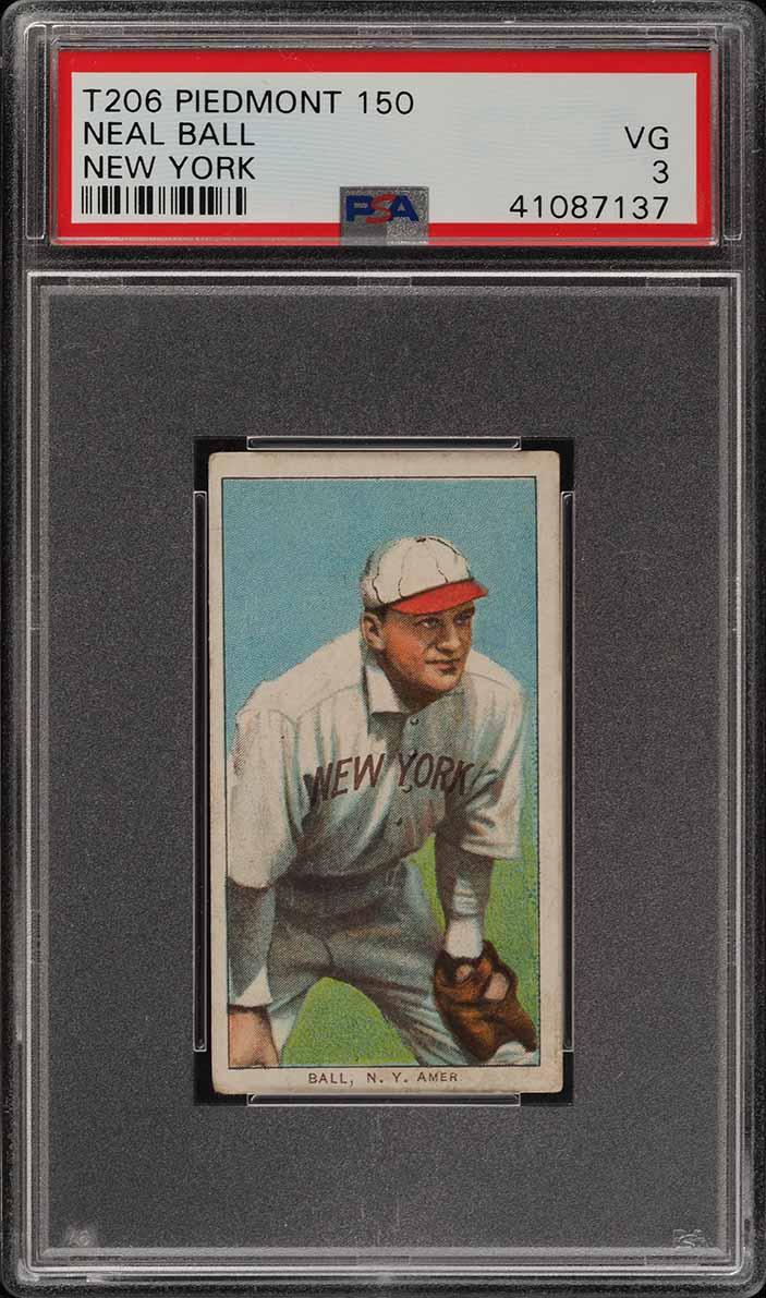 1909-11 T206 Neal Ball NEW YORK PSA 3 VG (PWCC) - Image 1