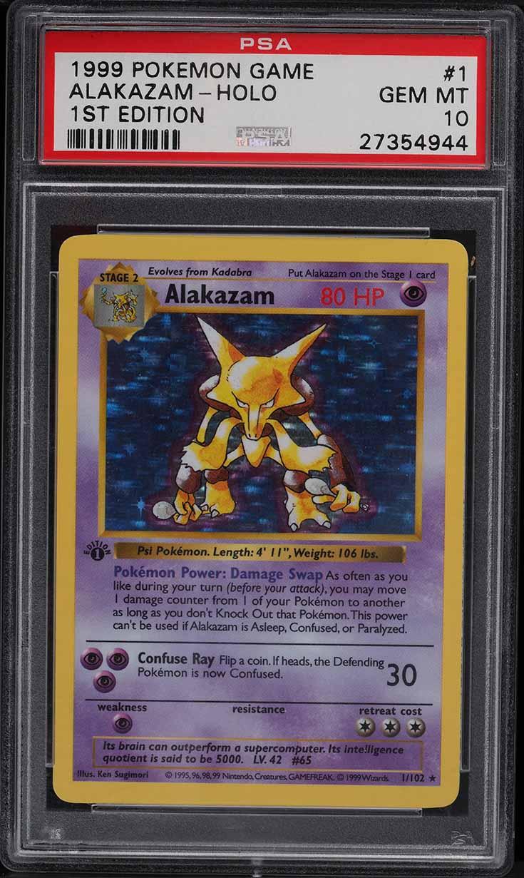 1999 Pokemon Base Set 1st Edition Shadowless Holo Alakazam #1 PSA 10 GEM MINT - Image 1