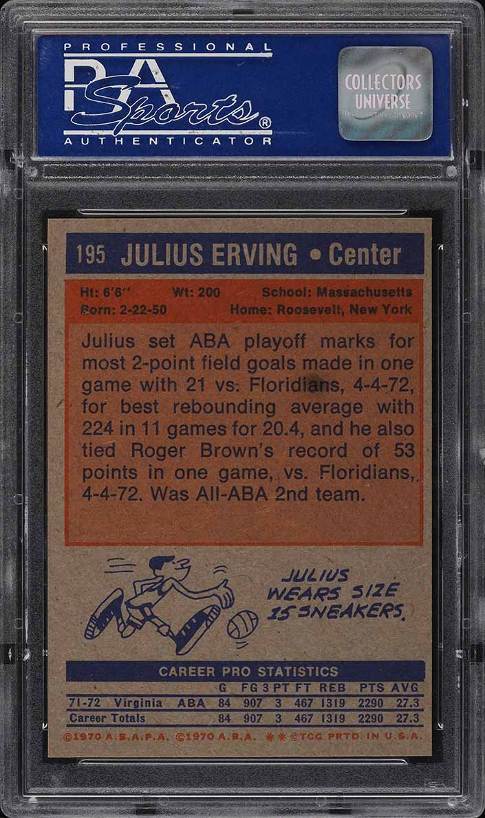 1972 Topps Basketball Julius Erving ROOKIE RC #195 PSA 9 MINT - Image 2