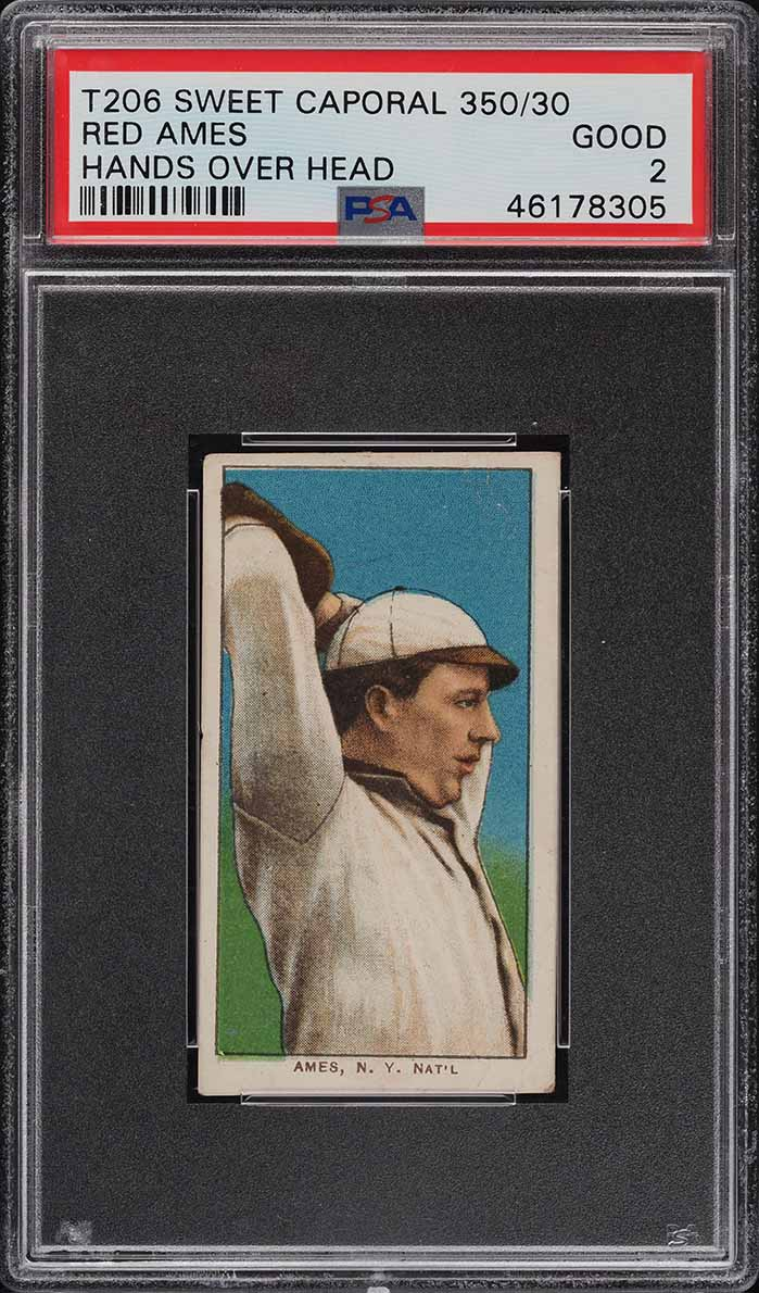 1909-11 T206 Red Ames HANDS OVER HEAD PSA 2 GD - Image 1