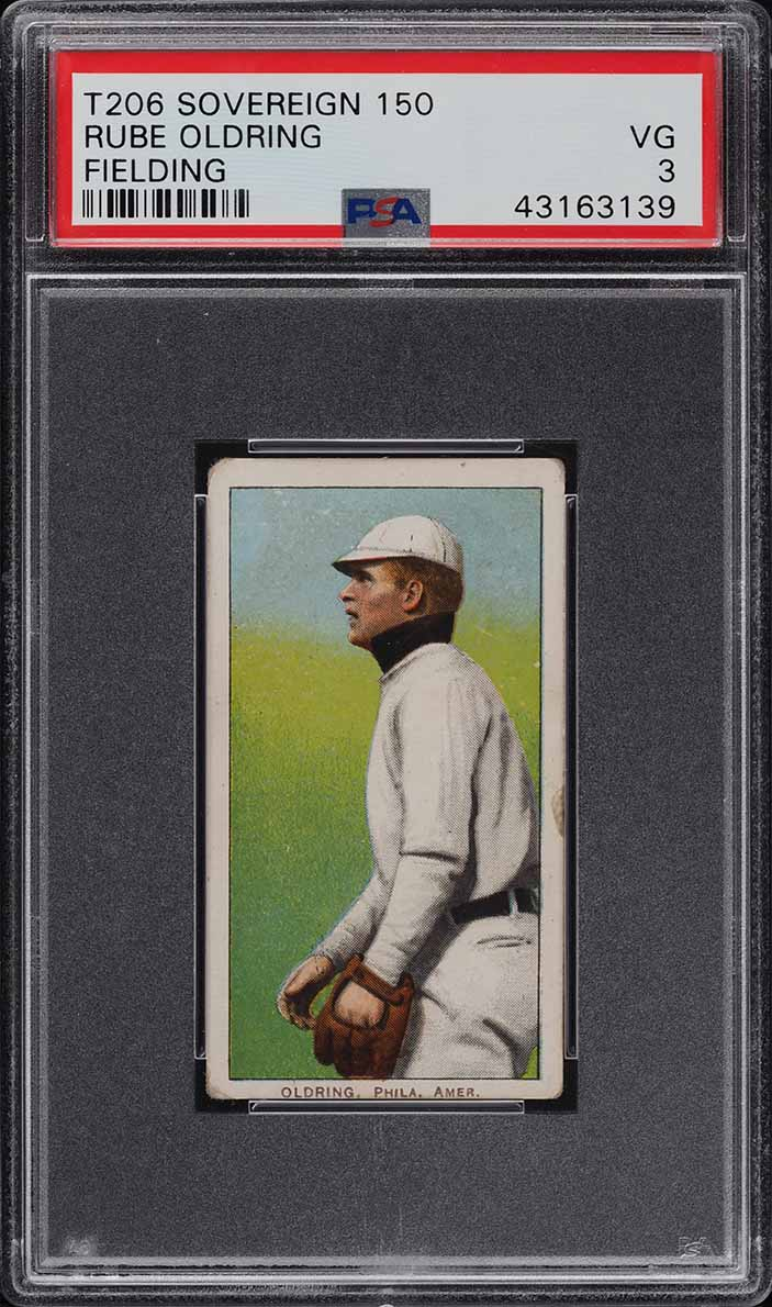 1909-11 T206 Rube Oldring FIELDING, SOVEREIGN PSA 3 VG (PWCC) - Image 1
