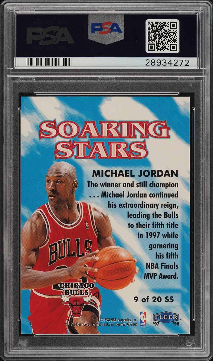 1997 Fleer Soaring Stars Michael Jordan #9 PSA 10 GEM MINT (PWCC) - Image 2