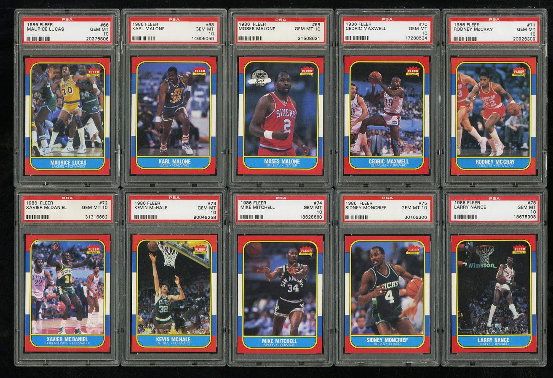 1986 Fleer Basketball COMPLETE PSA 10 SET Johnny Moore Michael Jordan RC (PWCC) - Image 9
