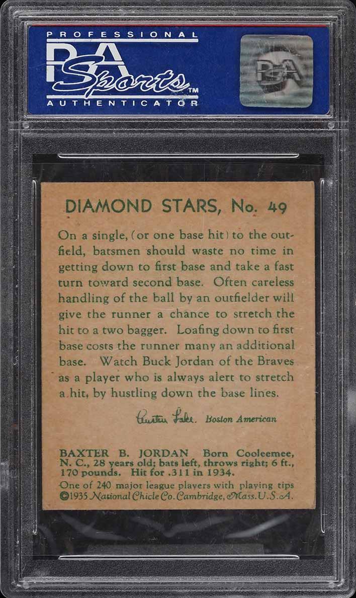 1935 Diamond Stars Buck Jordan #49 PSA 5 EX - Image 2
