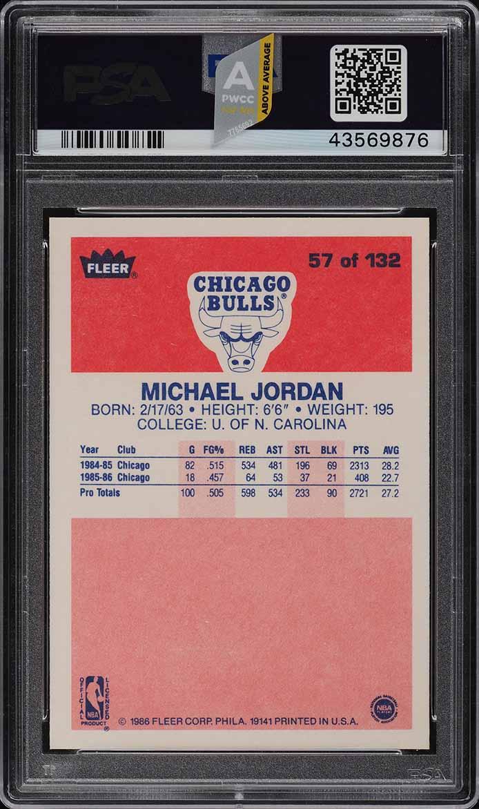 1986 Fleer Basketball Michael Jordan ROOKIE RC #57 PSA 10 GEM MINT (PWCC-A) - Image 2