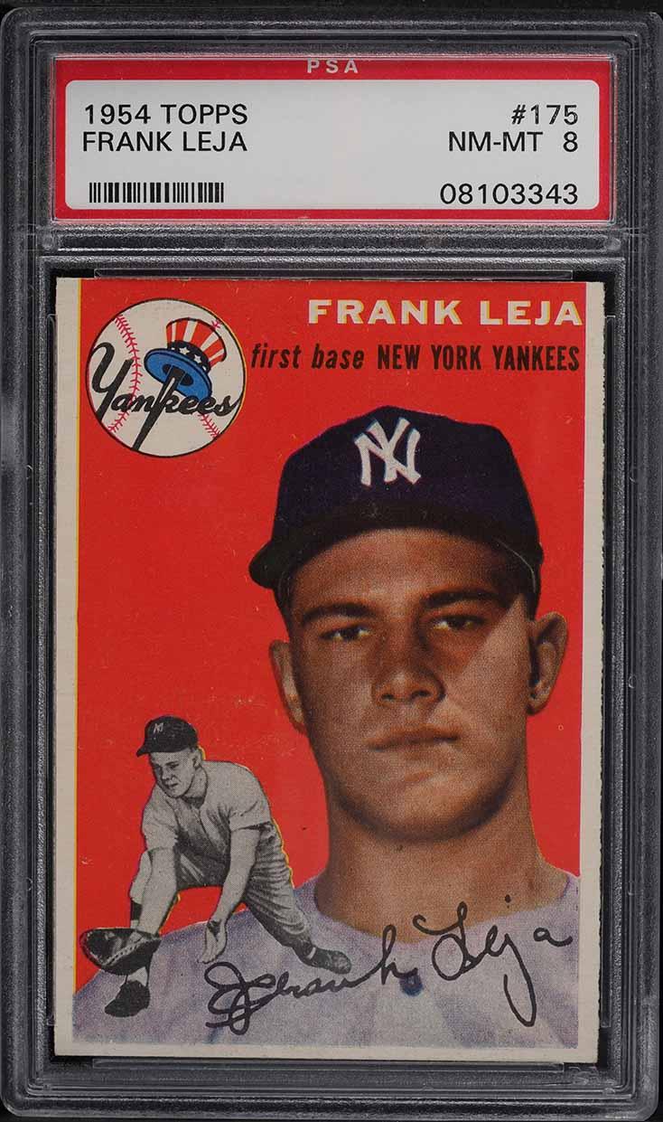 1954 Topps Frank Leja ROOKIE RC #175 PSA 8 NM-MT - Image 1