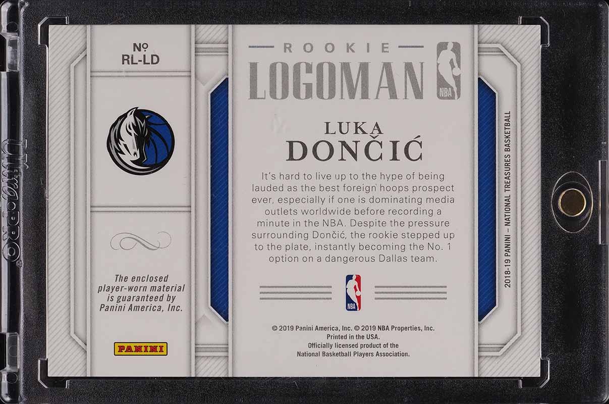 2018 National Treasures Rookie Logoman Luka Doncic RC LOGOMAN PATCH 5/5 #RL-LD - Image 2