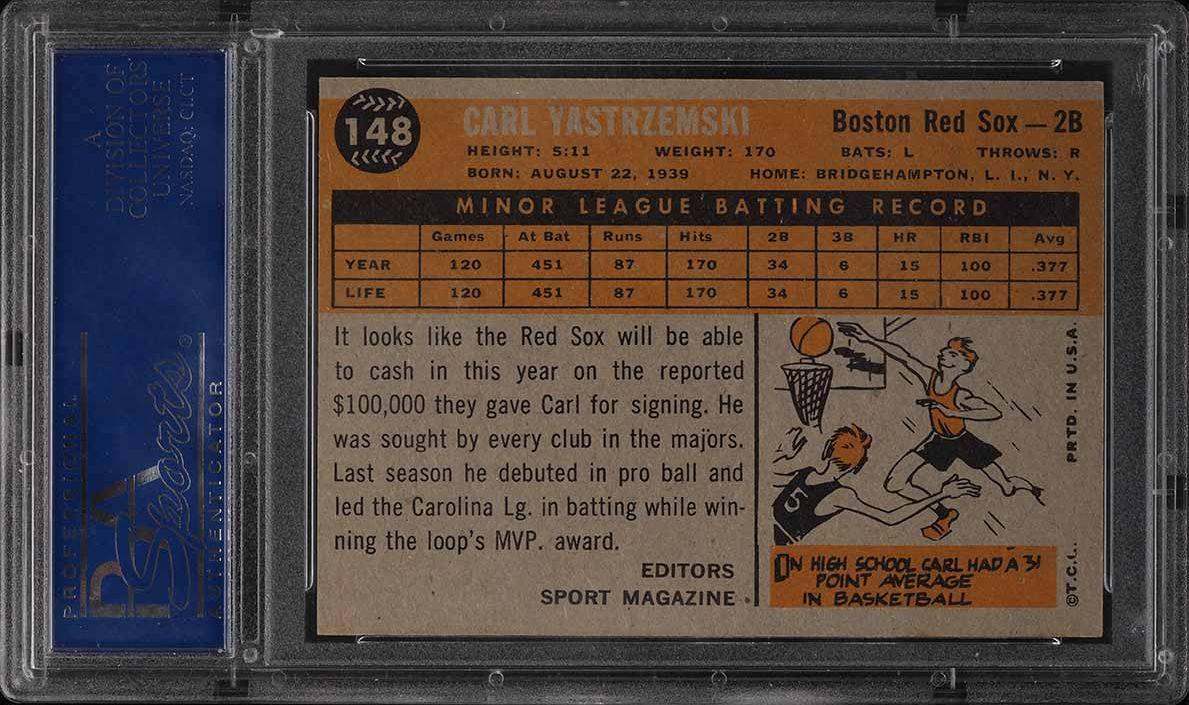 1960 Topps Carl Yastrzemski ROOKIE RC #148 PSA 8(oc) NM-MT - Image 2