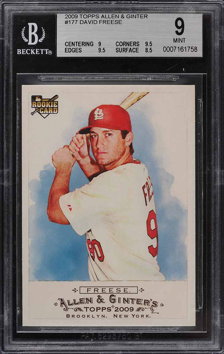 2009 Topps Allen & Ginter David Freese ROOKIE RC #177 BGS 9 MINT - Image 1