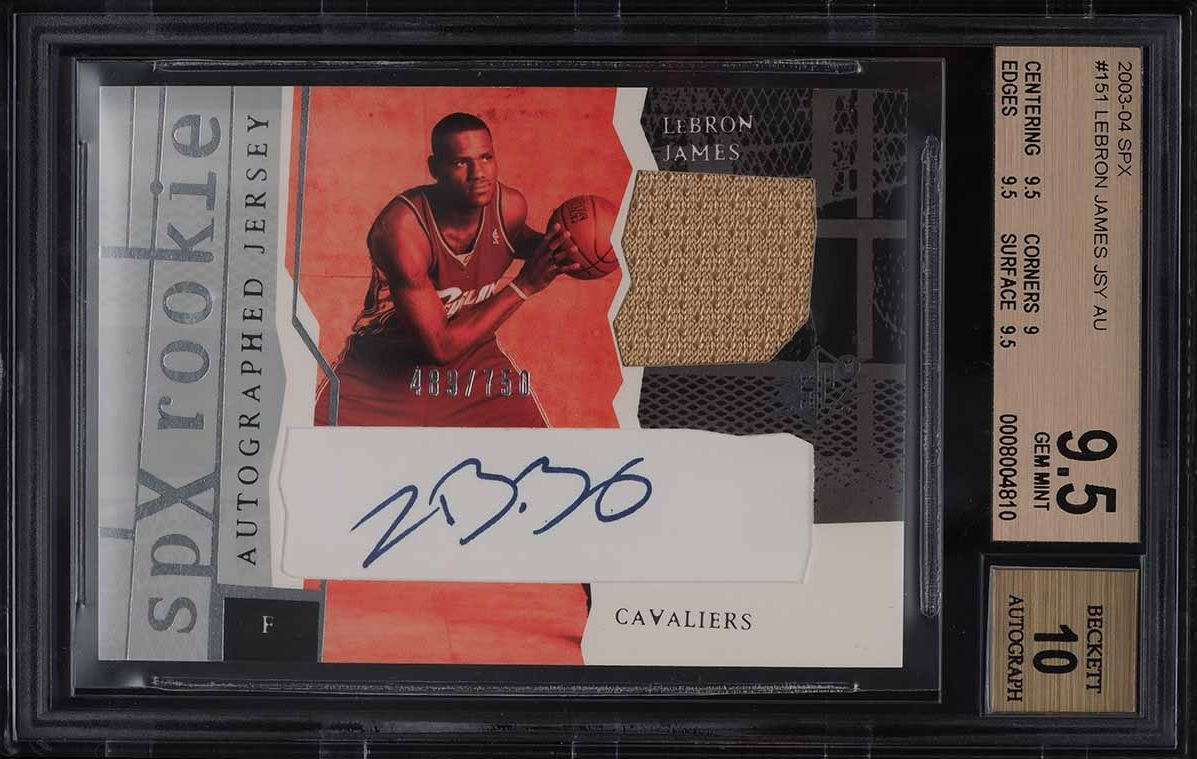 2003 SPx Basketball LeBron James ROOKIE RC GOLD PATCH AUTO /750 #151 BGS 9.5 - Image 1