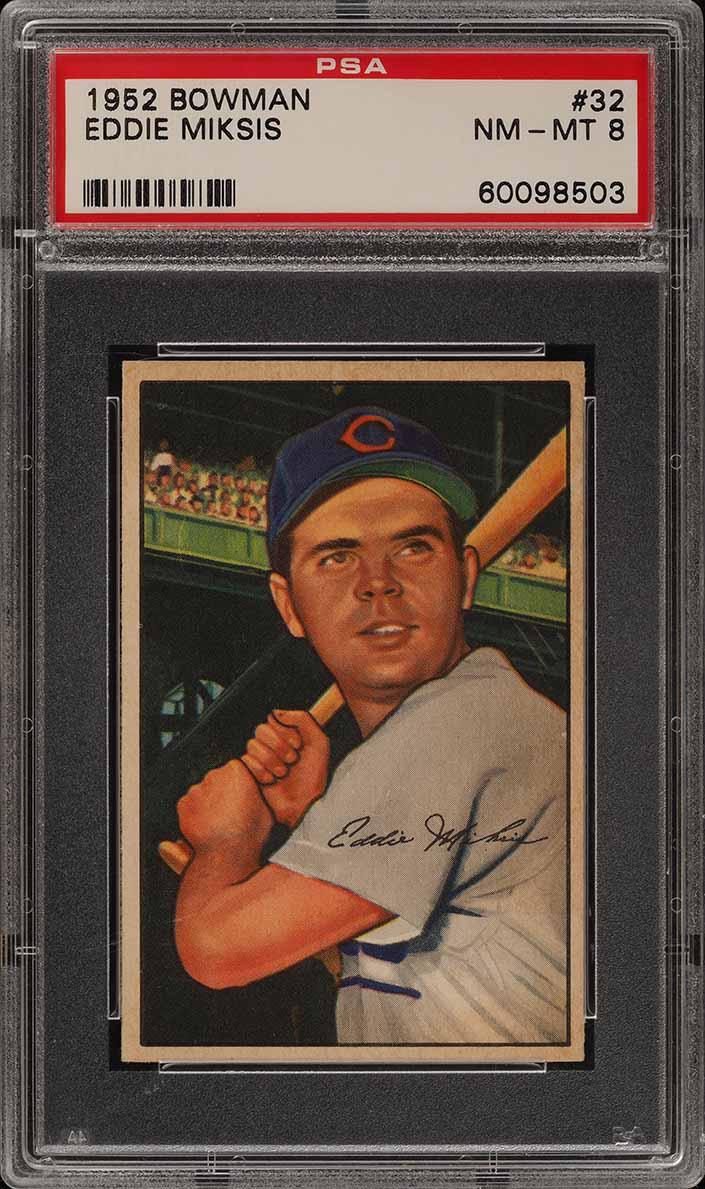 1952 Bowman SETBREAK Eddie Miksis #32 PSA 8 NM-MT (PWCC) - Image 1