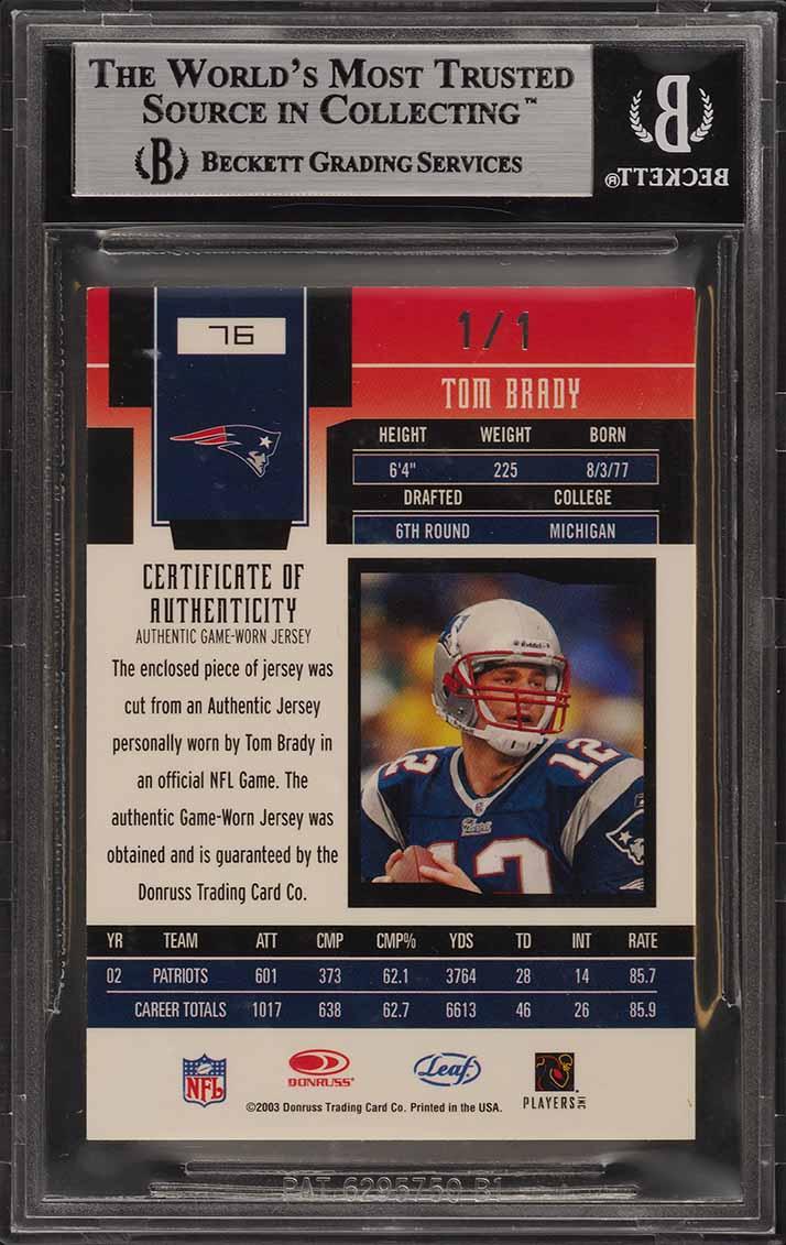 2003 Leaf Certified Mirror Black Tom Brady NFL SHIELD PATCH 1/1 BGS 8.5 (PWCC) - Image 2