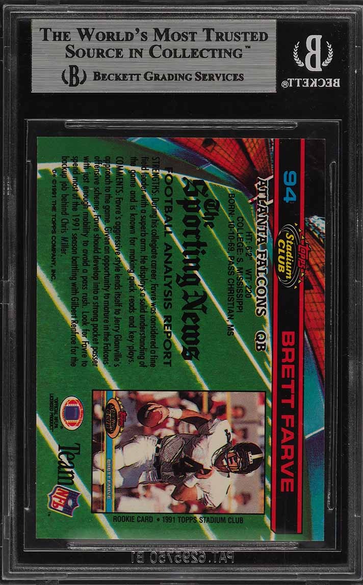 1991 Stadium Club Brett Favre ROOKIE RC #94 BGS 9 MINT (PWCC) - Image 2