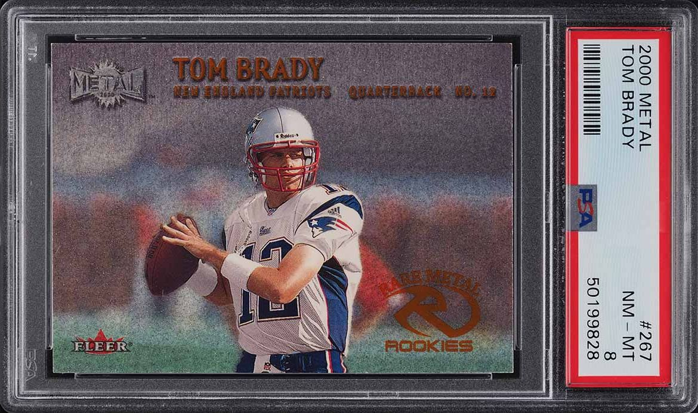 2000 Metal Football Tom Brady ROOKIE RC #267 PSA 8 NM-MT - Image 1