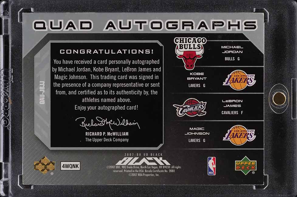 2007 UD Black Quad Michael Jordan LeBron James Kobe Bryant Johnson AUTO /10 - Image 2