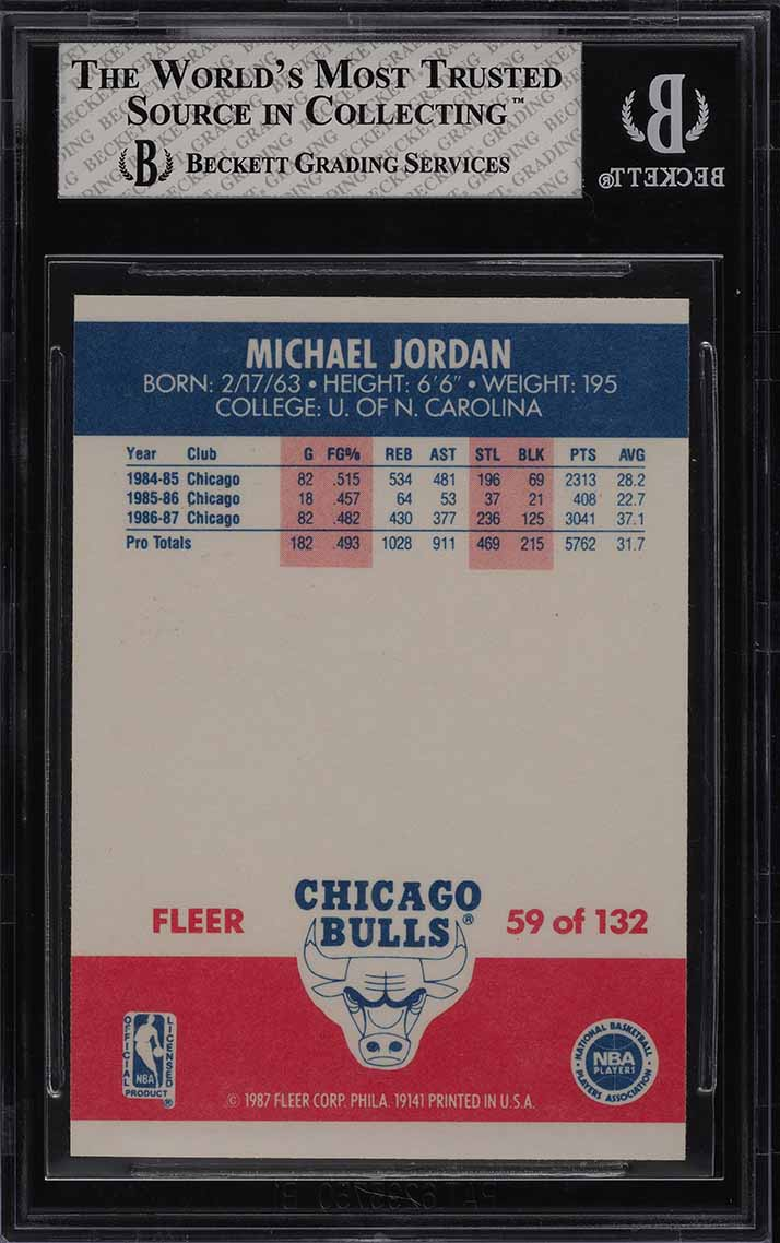 1987 Fleer Basketball Michael Jordan #59 BGS 6.5 EXMT+ (PWCC) - Image 2