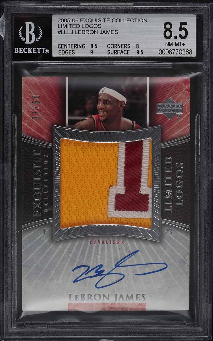 2005 Exquisite Collection Limited Logos LeBron James PATCH AUTO /50 BGS 8.5 - Image 1
