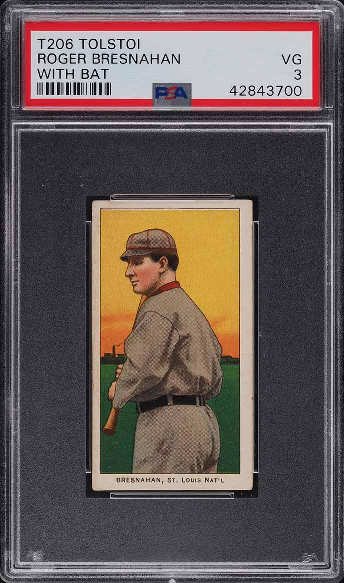 1909-11 T206 Roger Bresnahan WITH BAT, TOLSTOI PSA 3 VG - Image 1