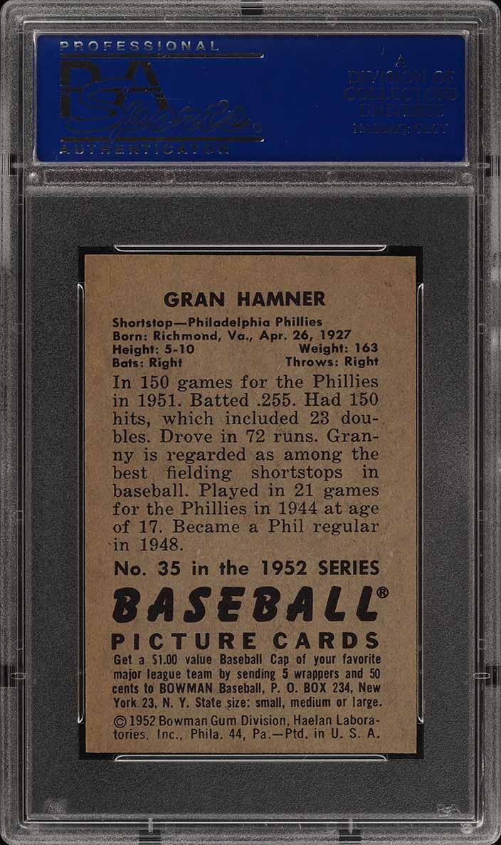 1952 Bowman SETBREAK Granny Hamner #35 PSA 8 NM-MT (PWCC) - Image 2