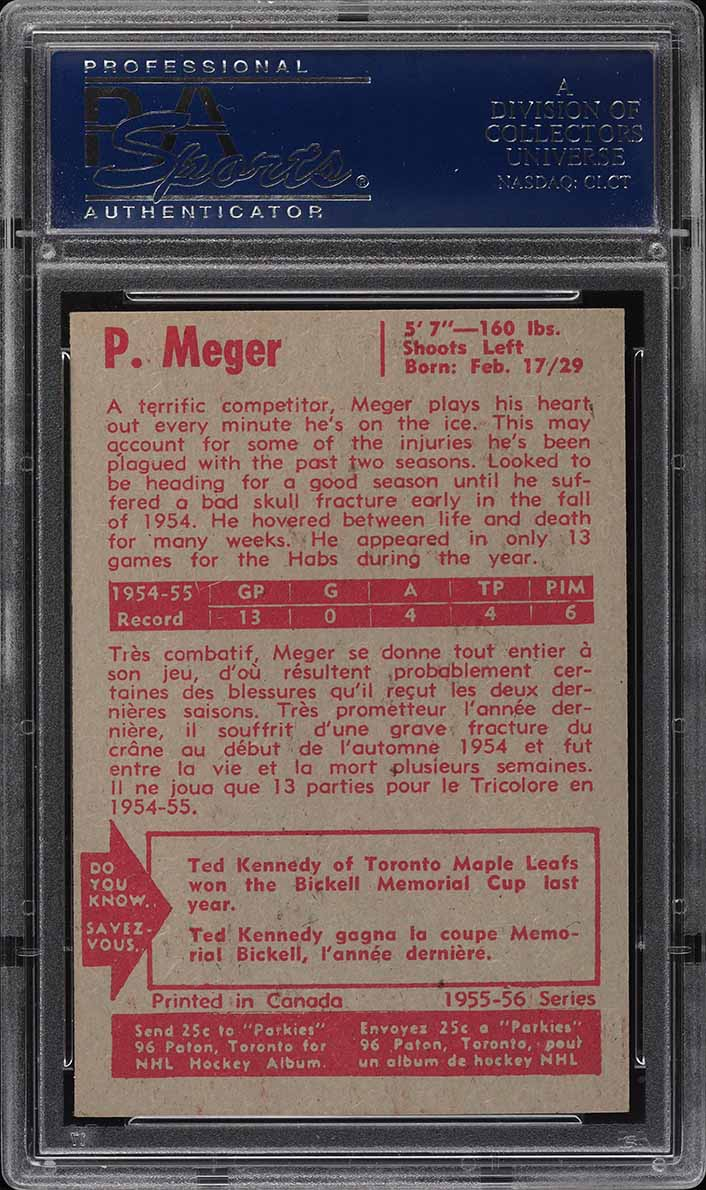 1955 Parkhurst Paul Meger #51 PSA 8 NM-MT - Image 2