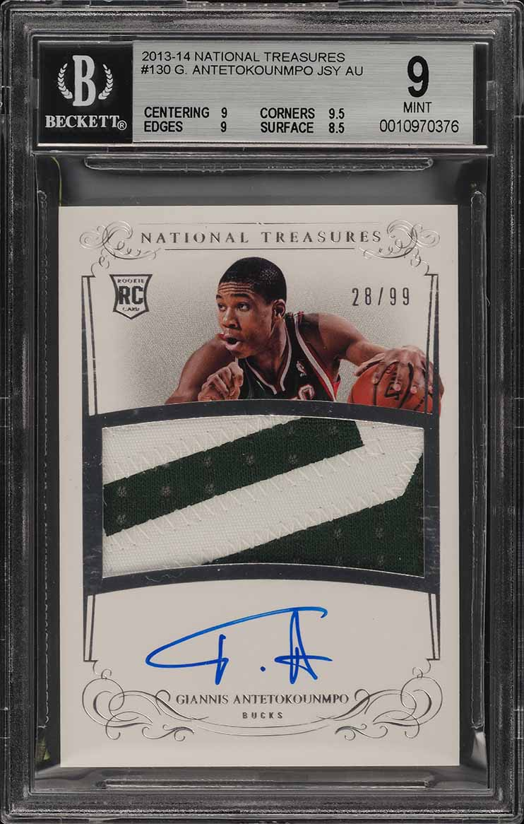 2013 National Treasures Giannis Antetokounmpo ROOKIE AUTO PATCH /99 BGS 9 (PWCC) - Image 1