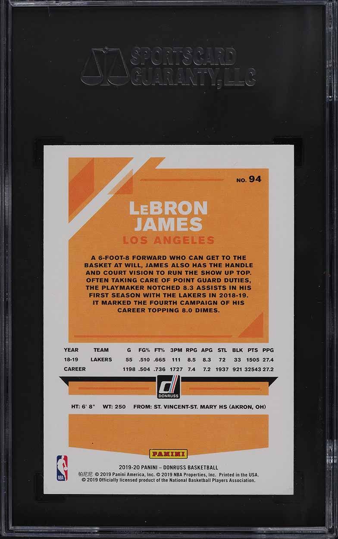 2019 Donruss Basketball LeBron James #94 SGC 9.5 MINT+ - Image 2