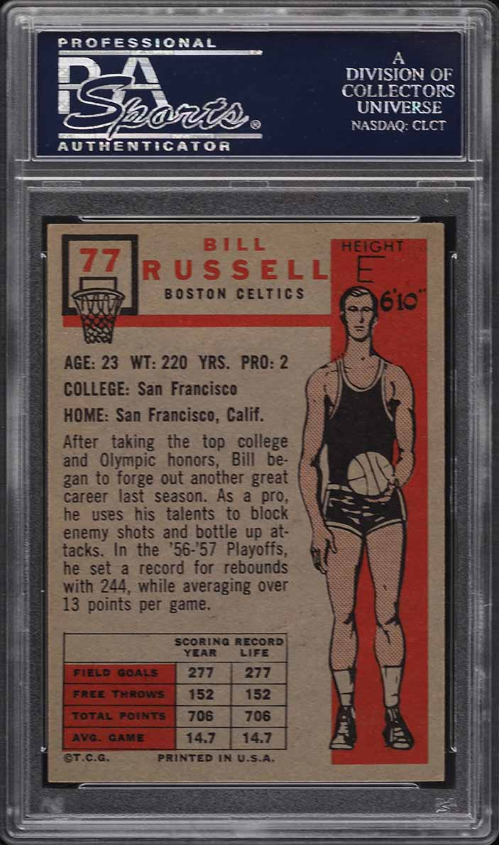 1957 Topps Basketball Bill Russell SP ROOKIE RC #77 PSA 5.5 EX+ - Image 2