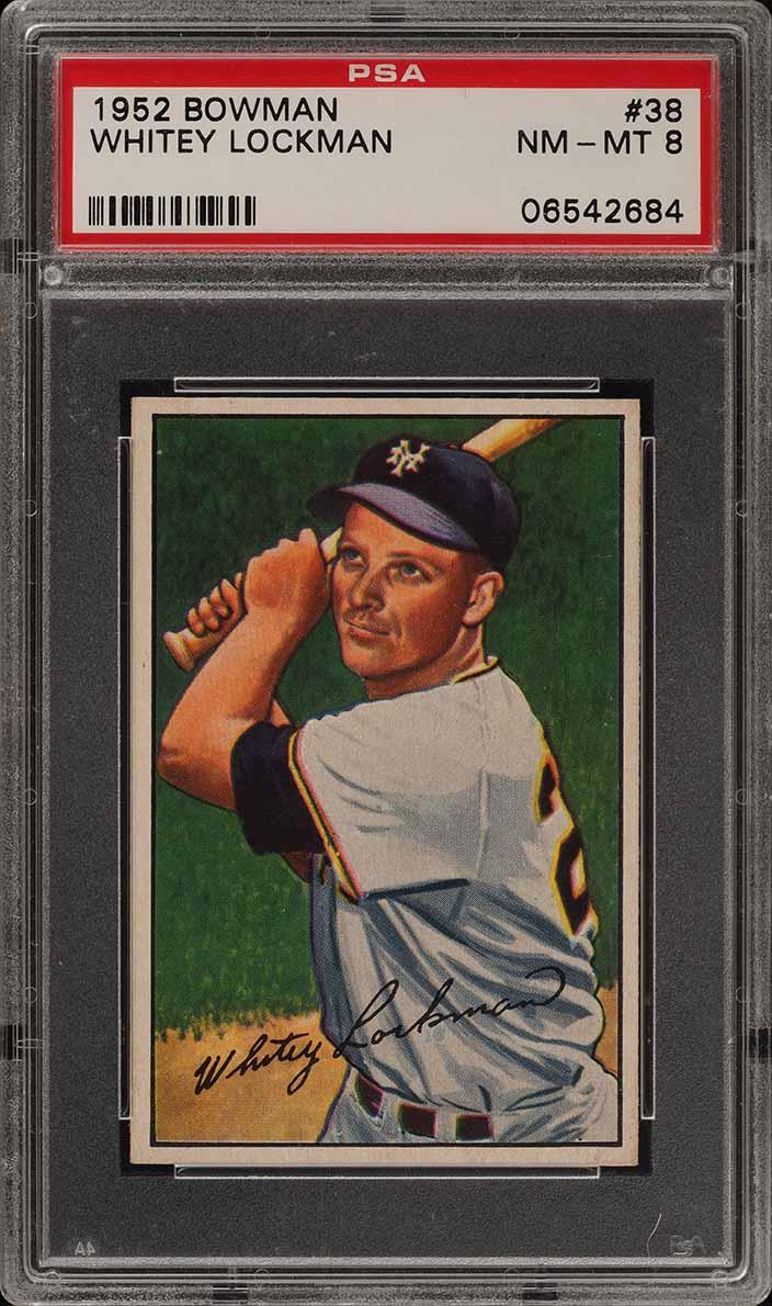 1952 Bowman SETBREAK Whitey Lockman #38 PSA 8 NM-MT (PWCC) - Image 1