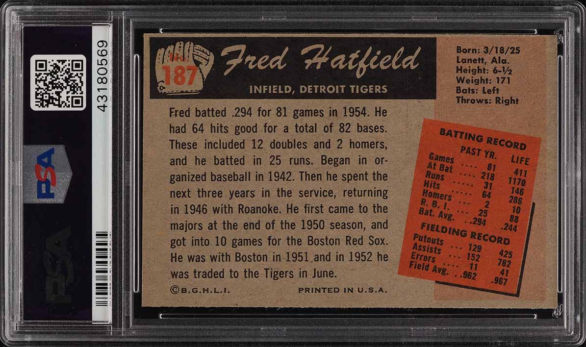 1955 Bowman Fred Hatfield #187 PSA 8 NM-MT (PWCC) - Image 2