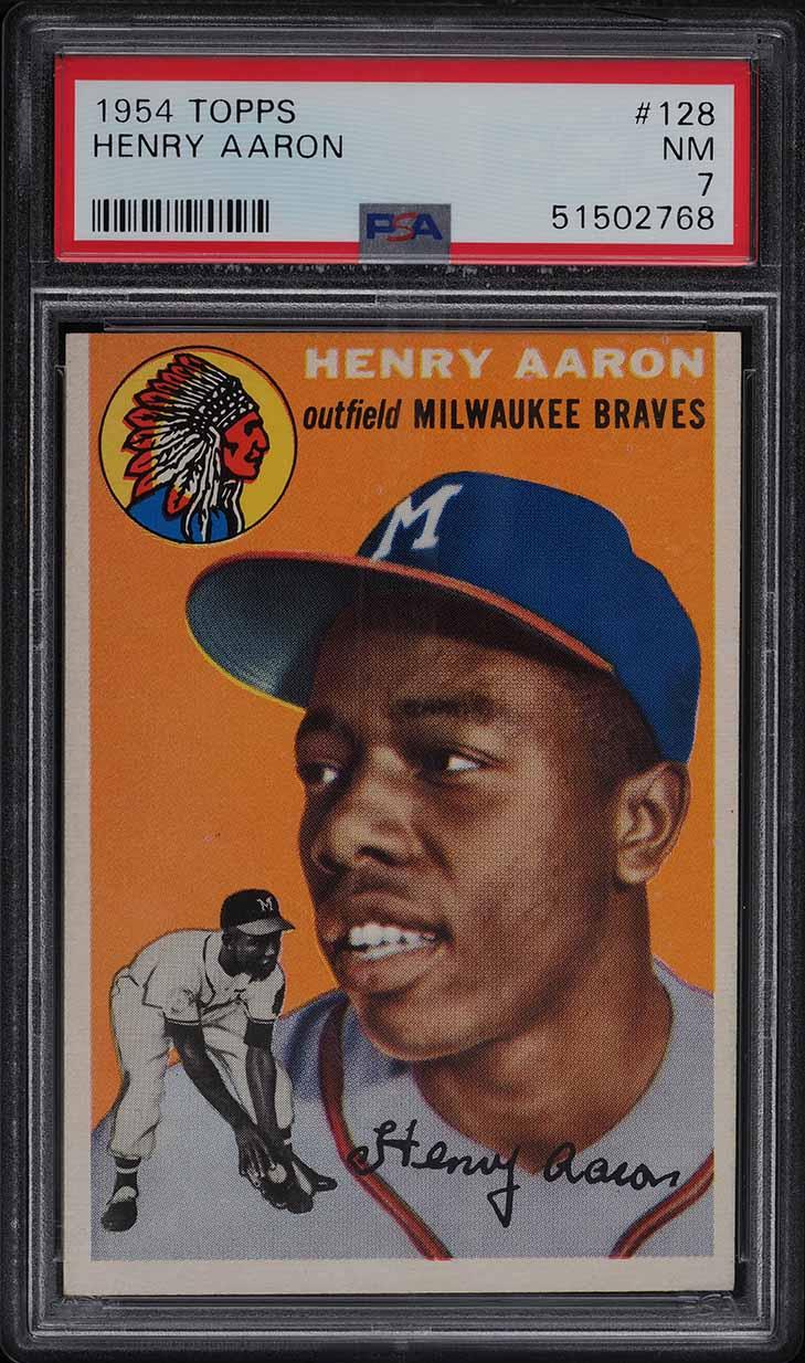 1954 Topps Hank Aaron ROOKIE RC #128 PSA 7 NRMT - Image 1