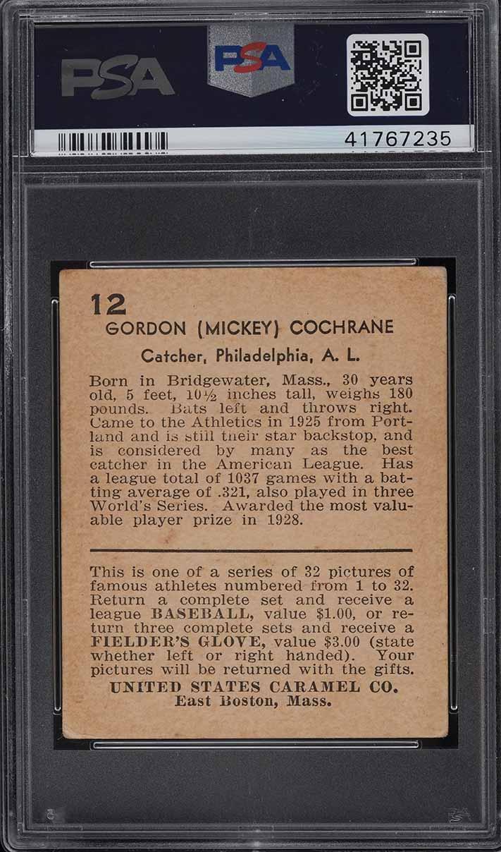 1932 U.S. Caramel Mickey Cochrane #12 PSA 4 VGEX - Image 2