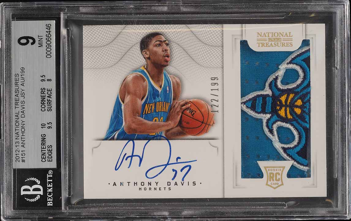 2012 National Treasures Anthony Davis ROOKIE RC AUTO PATCH /199 RC BGS 9 (PWCC) - Image 1