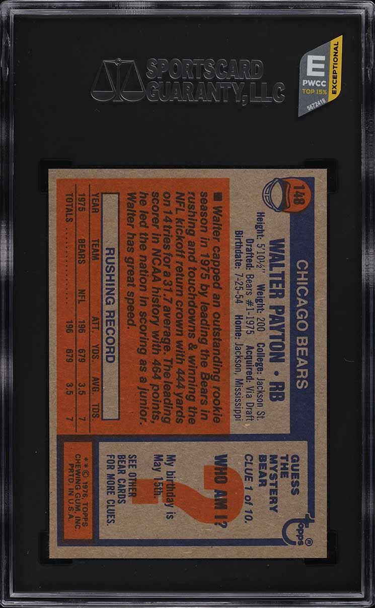 1976 Topps Football Walter Payton ROOKIE RC #148 SGC 10 GEM MINT (PWCC-E) - Image 2