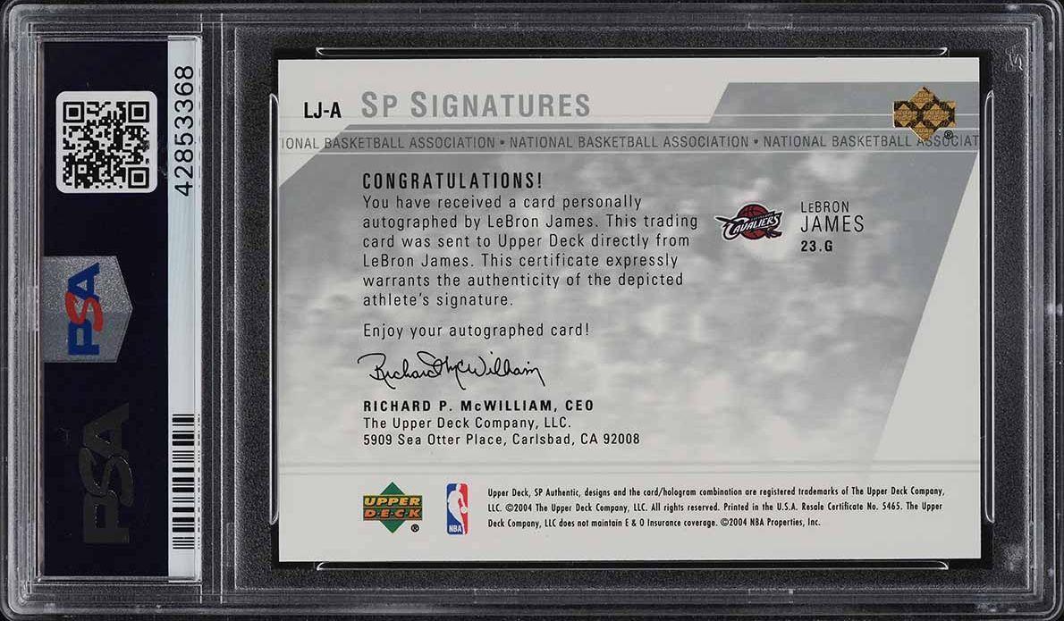 2003 SP Authentic Signatures LeBron James ROOKIE RC AUTO #LJ-A PSA 10 GEM (PWCC) - Image 2