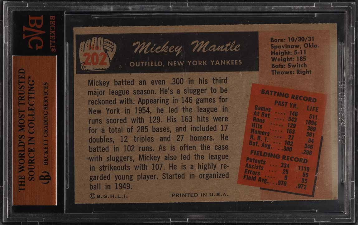 1955 Bowman Mickey Mantle #202 BVG 8 NM-MT (PWCC) - Image 2