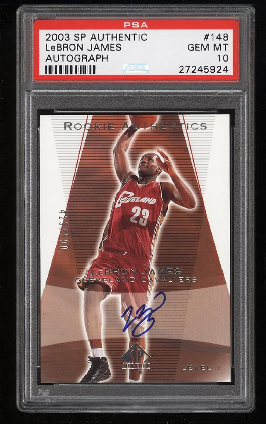 2003 SP Authentic LeBron James ROOKIE RC AUTO /500 #148 PSA 10 GEM MINT (PWCC) - Image 1