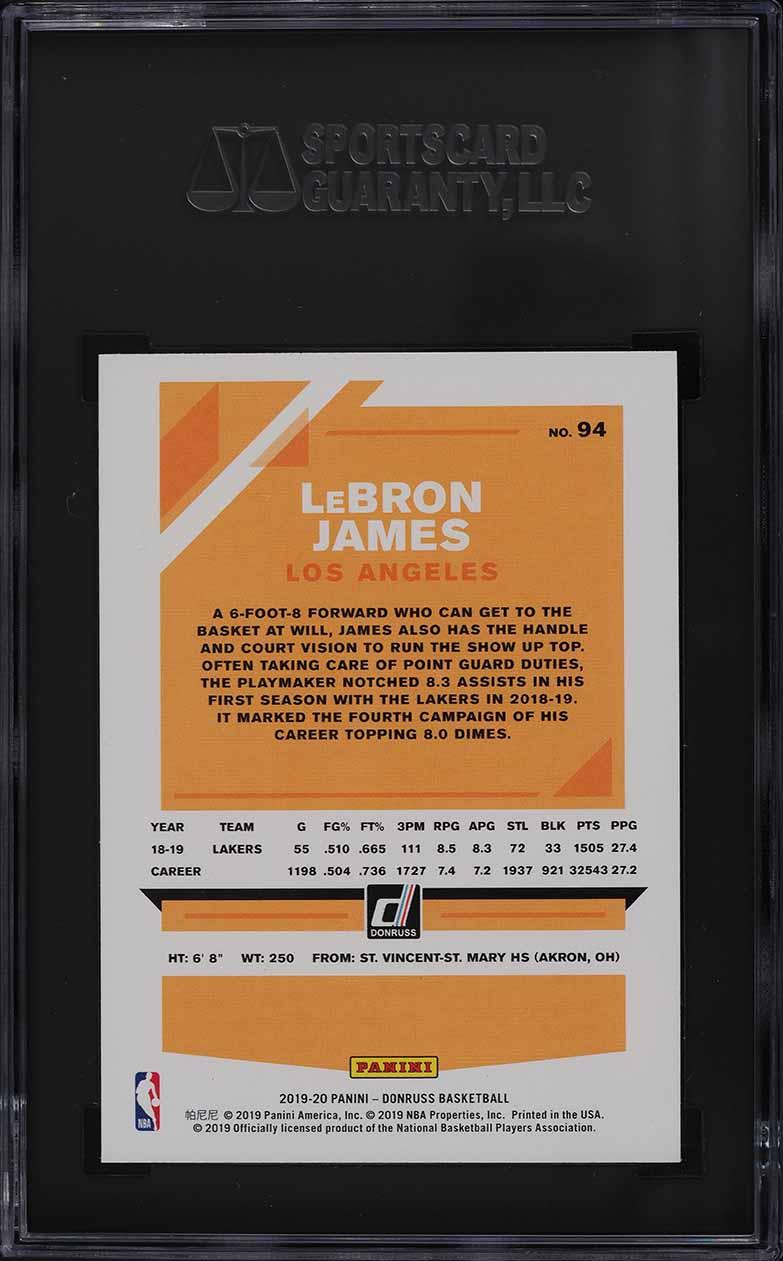 2019 Donruss Basketball Lebron James #94 SGC 8 NM-MT - Image 2