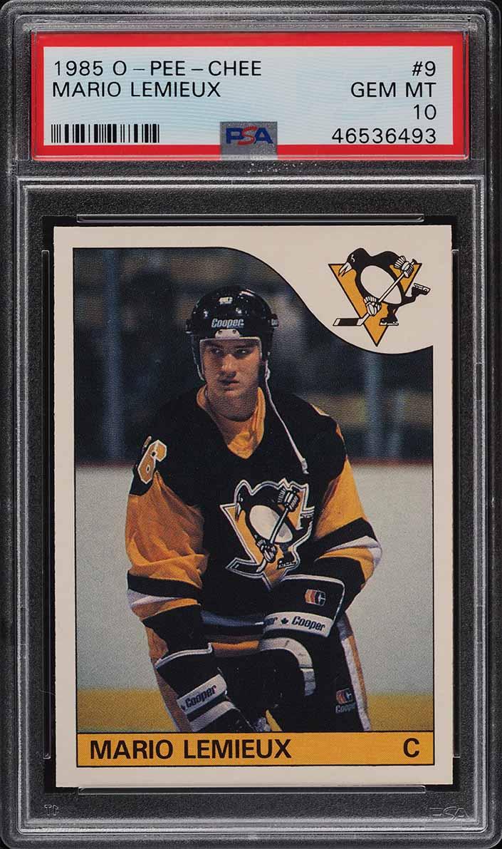 1985 O-Pee-Chee Hockey Mario Lemieux ROOKIE RC #9 PSA 10 GEM MINT (PWCC-A) - Image 1