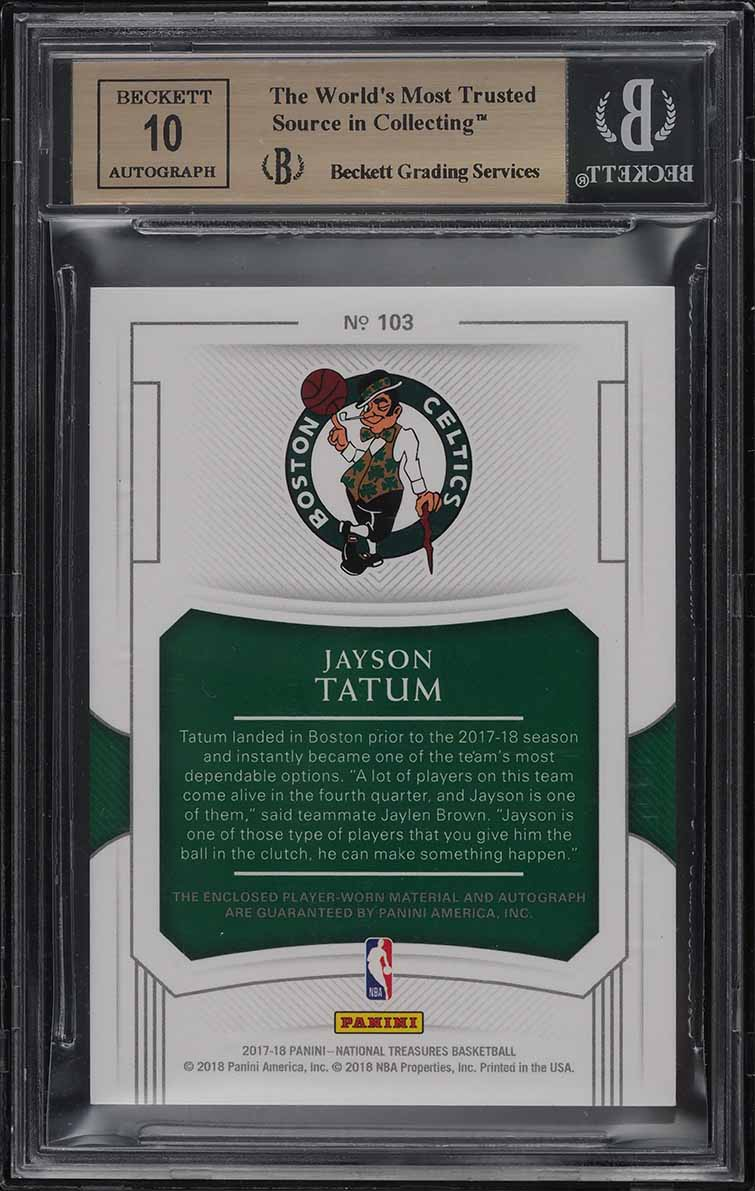 2017 National Treasures Jayson Tatum ROOKIE RC PATCH AUTO /99 #103 BGS 9.5 GEM - Image 2