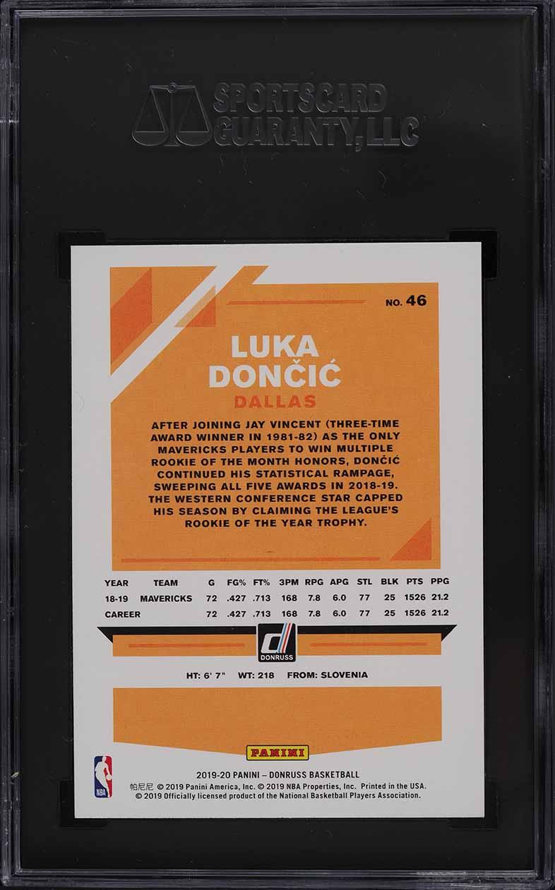 2019 Donruss Basketball Luka Doncic #46 SGC 9 MINT - Image 2