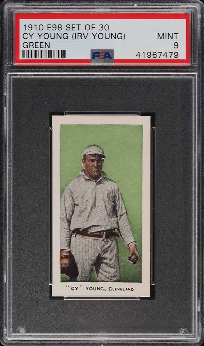 1910 E98 Set Of 30 Cy Young GREEN PSA 9 MINT (PWCC-S) - Image 1