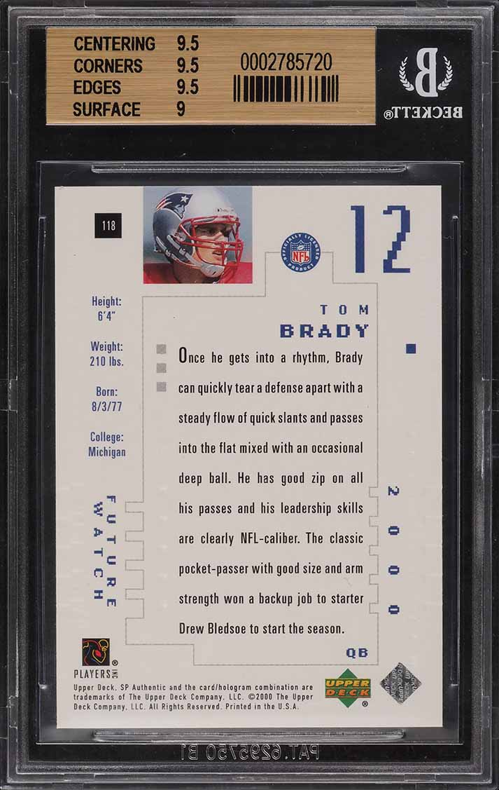 2000 SP Authentic Tom Brady ROOKIE RC /1250 #118 BGS 9.5 GEM MINT - Image 2