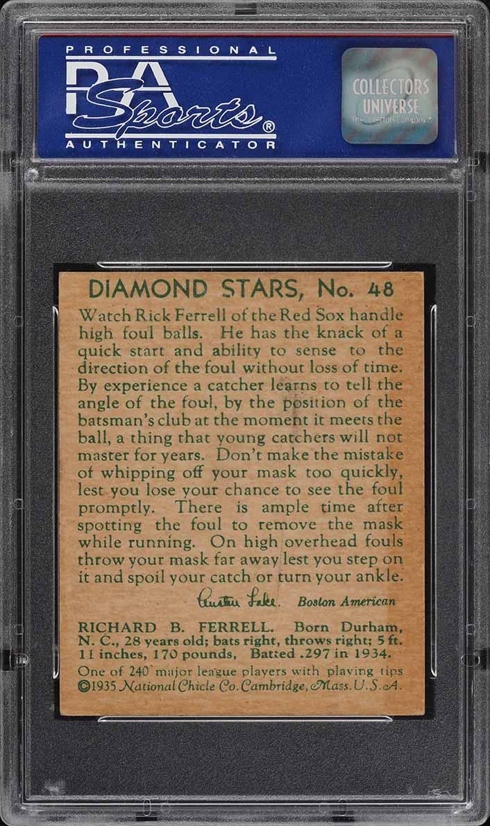 1935 Diamond Stars Rick Ferrell #48 PSA 3 VG - Image 2