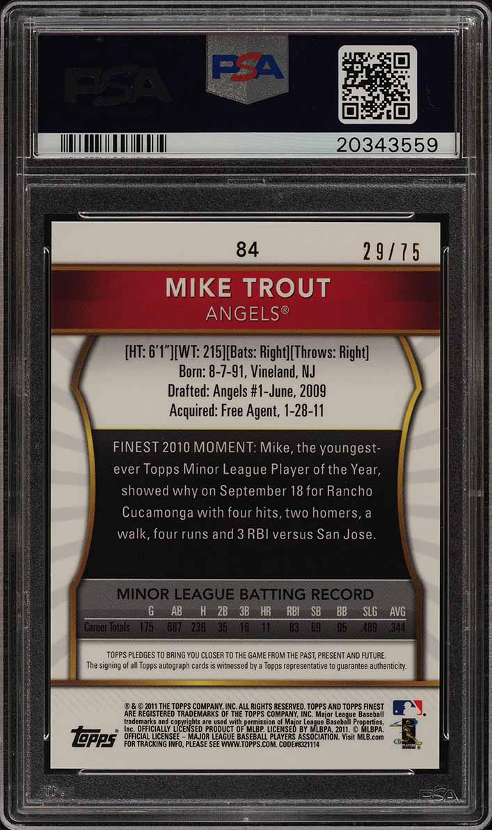 2011 Finest Gold Refractor Mike Trout ROOKIE PSA/DNA 10 AUTO /75 PSA 10 (PWCC) - Image 2