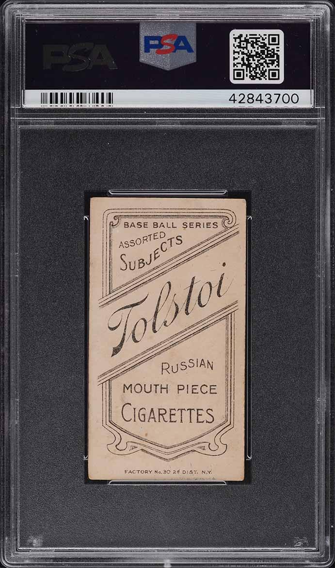 1909-11 T206 Roger Bresnahan WITH BAT, TOLSTOI PSA 3 VG - Image 2