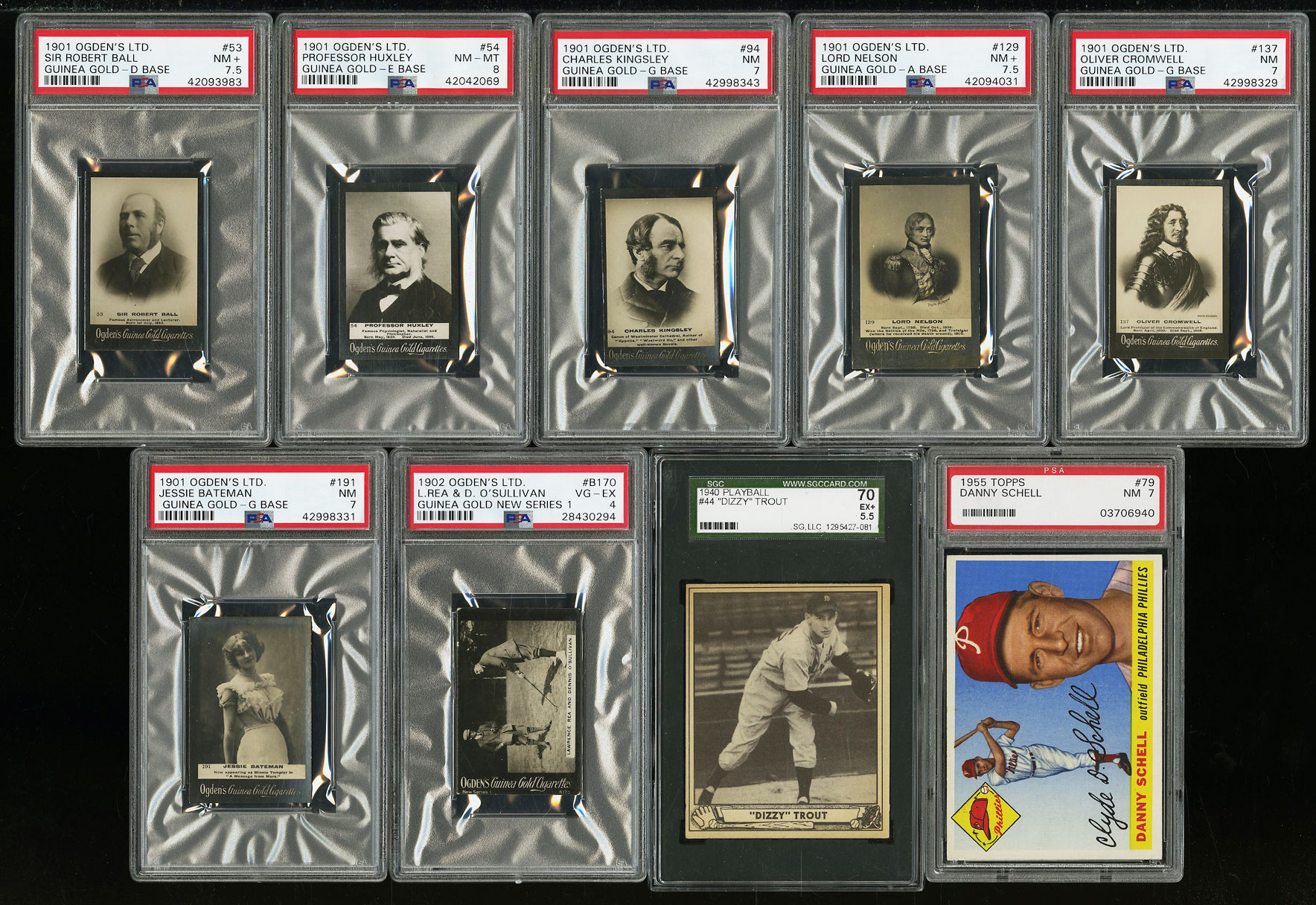 Lot(16) 1901-62 Topps Ogden's Play Ball w/ Trout Francona Howard, PSA SGC (PWCC) - Image 1