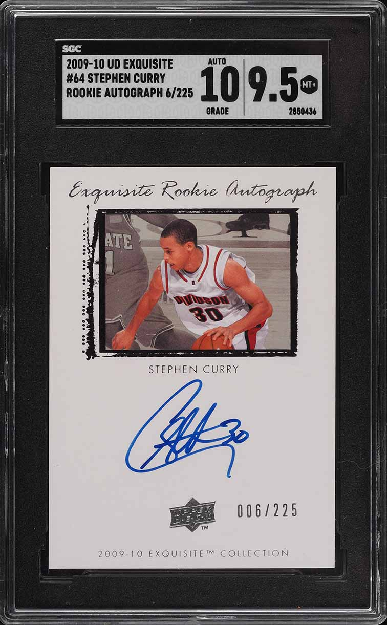 2009 Exquisite Collection Stephen Curry ROOKIE RC '10' AUTO /225 #64 SGC 9.5  - Image 1