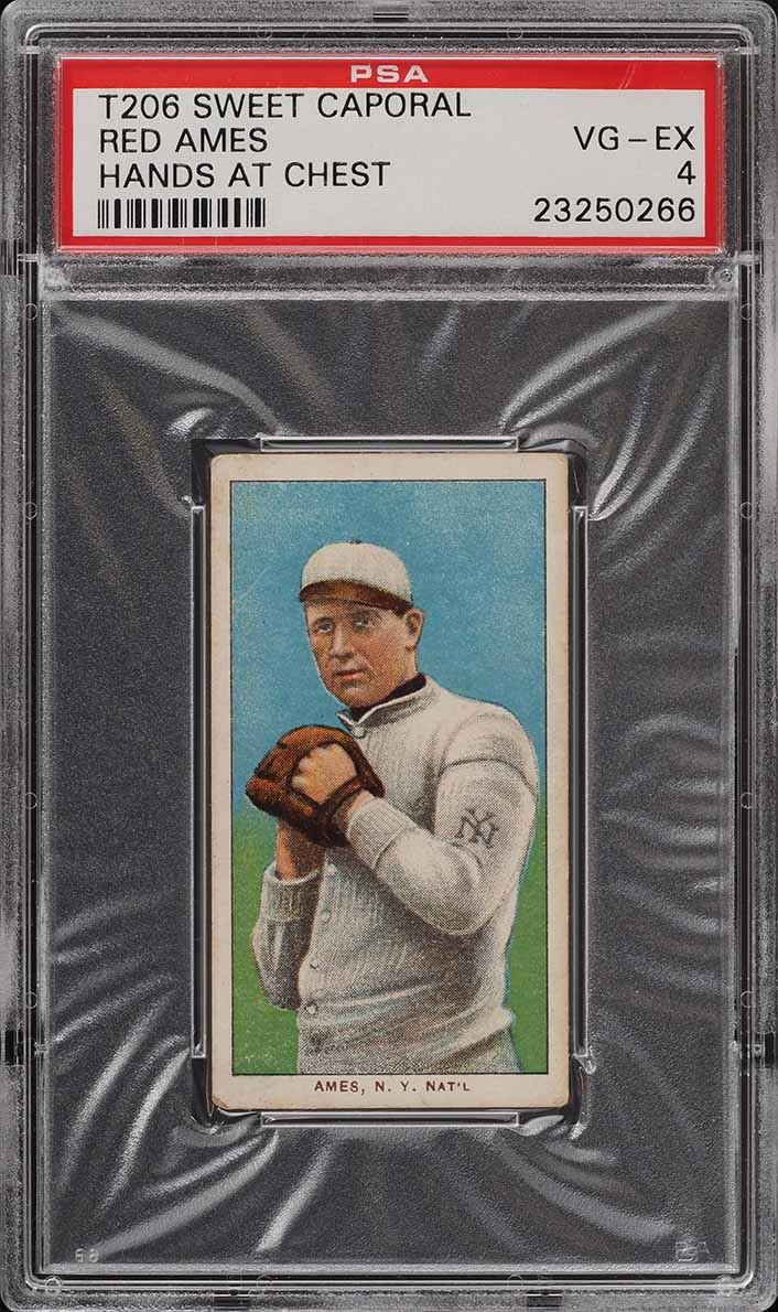 1909-11 T206 SETBREAK Red Ames HANDS AT CHEST PSA 4 VGEX (PWCC) - Image 1