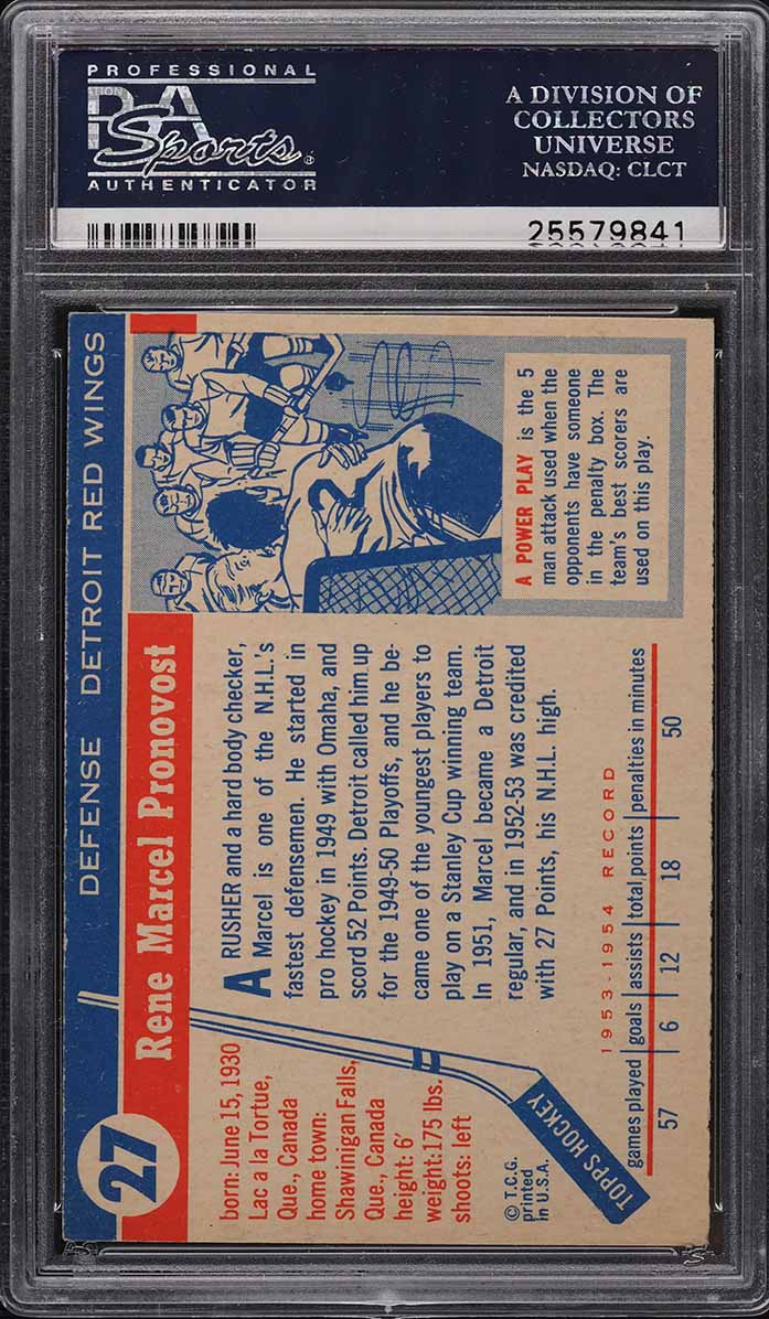 1954 Topps Hockey Marcel Pronovost #27 PSA 8 NM-MT - Image 2